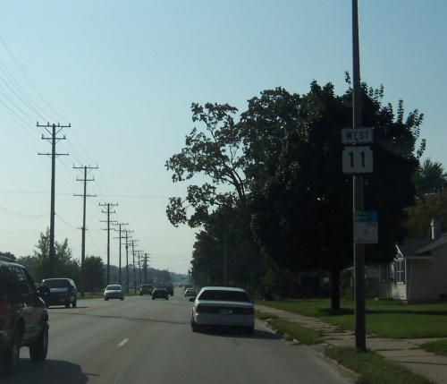 Highway 11 westbound begins in Racine.