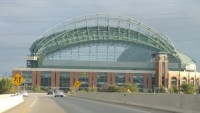 Miller Park from the Highway 175 bridge over I-94 in Milwaukee.