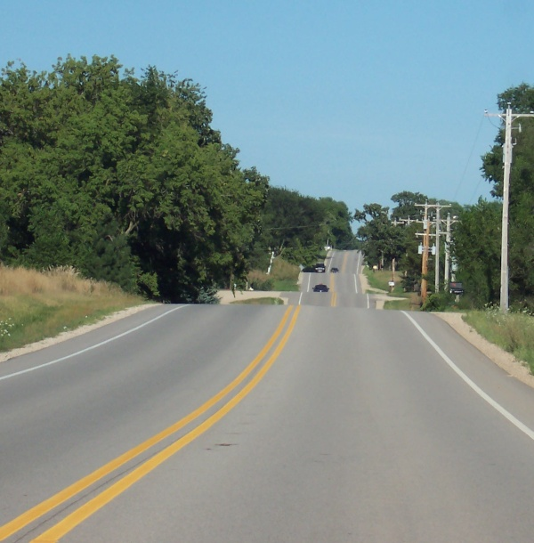 Rolling hills along Highway 20 in west of East Troy