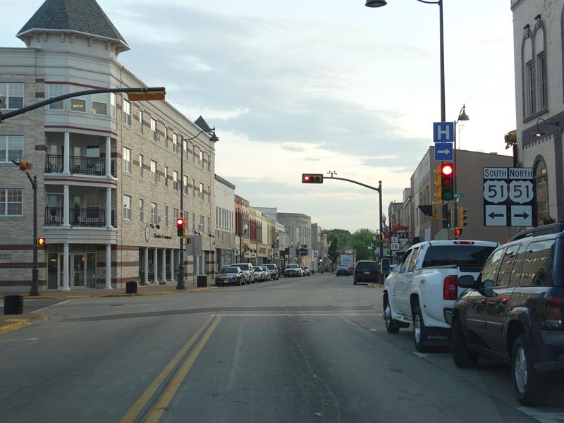HIghway 33 at U.S. 51 & 16 in downtown Portage
