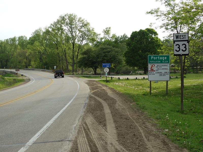Highway 33 entering Portage