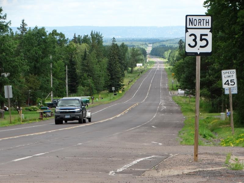 Highway 35 looking towards Superior and Duluth, which are still 15 miles away.