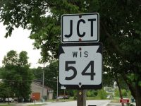 Highway 54 junction sign in Brown County