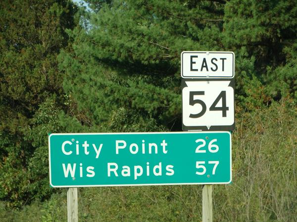 Highway 54 mileage sign to City Point