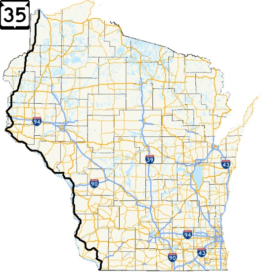 Wisconsin Highway 35 Road Trip Great River Road State Trunk Tour - Us-highway-61-map