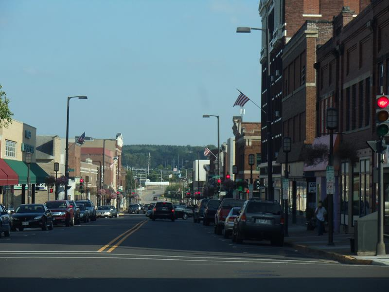 Downtown Chippewa Falls along Bay Street/Highway 124