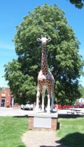 Giraffe statue in Delavan