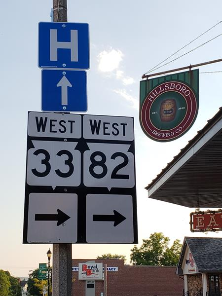Highway 33 and Highway 82 in downtown Hillsboro, at Hillsboro Brewing's Tap Room