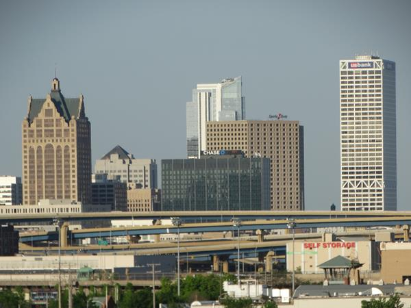 Highway 57 view of downtown Milwaukee from the 27th Street Viaduct