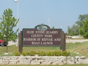 Olde Stone Quarry Park is along the waters of Green Bay about 4 1/2 miles north of Sturgeon Bay.