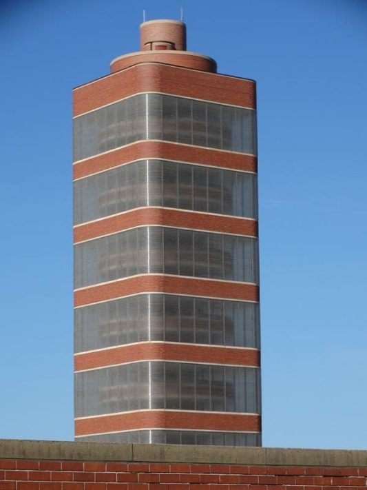 Johnson Wax Tower, just south of where Highway 38 begins