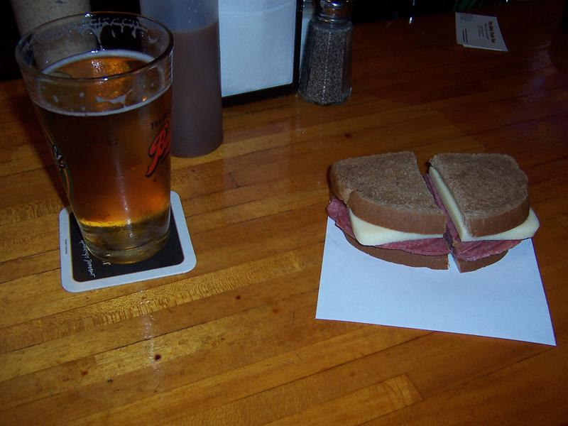 Baumgartner's brick and summer sausage sandwich
