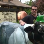 Cows and kettles dot the landscape in front of the National Historic Cheesemaking Center.