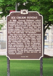WI Historic Marker, Ice Cream Sundae
