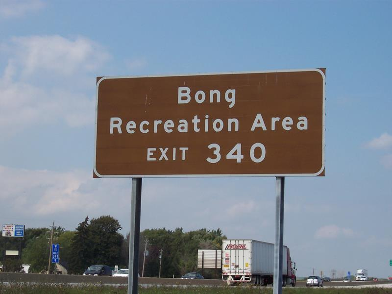 Bong Recreation Area sign along I-41/94, at the Highway 142 exit
