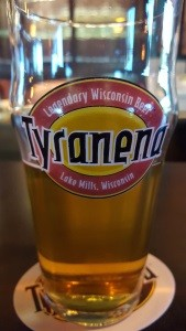Tyranena pint at their Tasting Room in Lake Mills