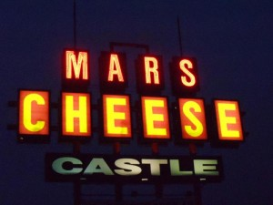 Mars Cheese Castle sign at night