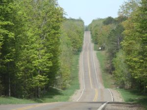 Highway 52 in the midst of the Nicolet National Forest.