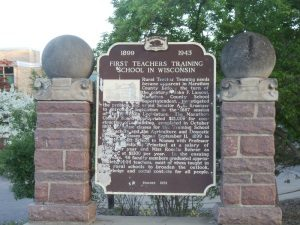 Historic Marker, First Teachers School in Wisconsin, Wausau