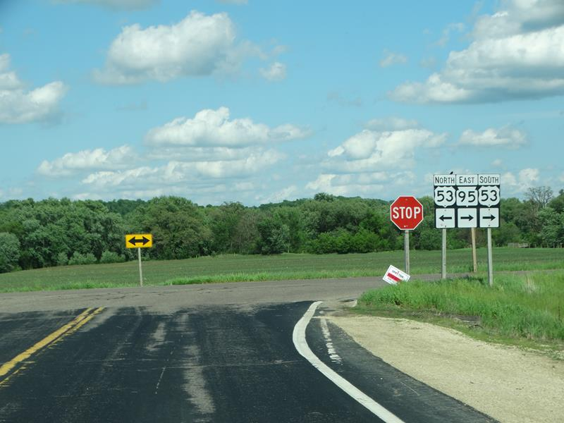 Highway 95 junction with U.S. 53 in Trempealeau County