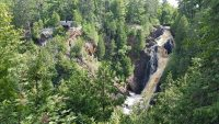 Big Manitou Falls and some of the spectacular rock formations near it.