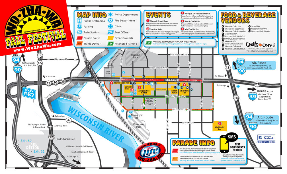 Wo-Zha-Wa Days map, Wisconsin Dells