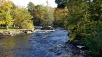 Fall in Wisconsin includes river rapids and leaves changing color