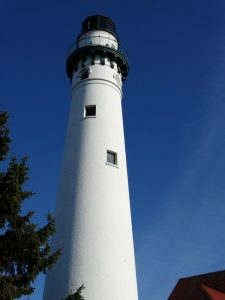 Wind Point Lighthouse rises 108 feet.