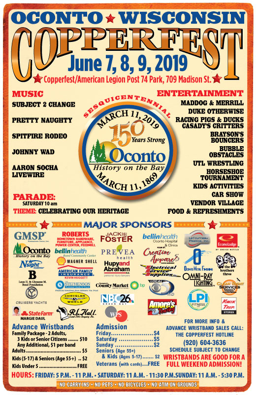 Oconto Copperfest 2019 events poster