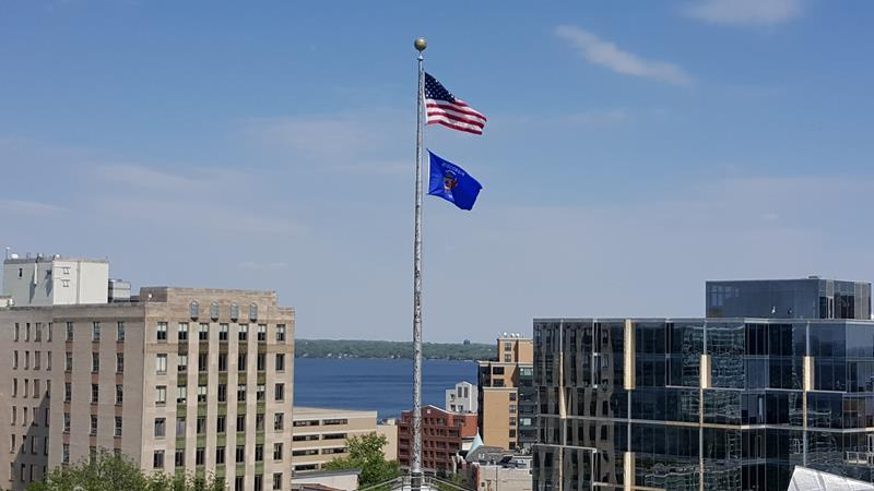 Wisconsin State Capitol view of Lake Monona from the observation deck