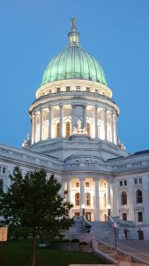 Wisconsin State Capitol at dusk