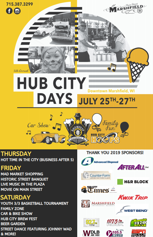 Marshfield Hub City Days 2019 poster