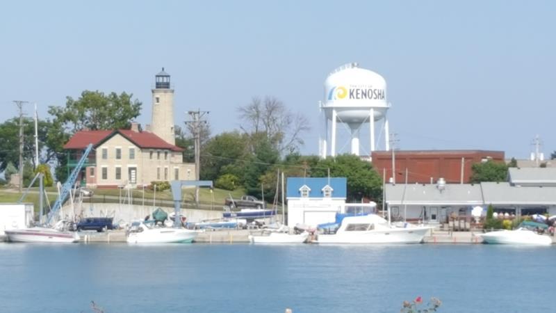 Southport Light and water tower at Kenosha