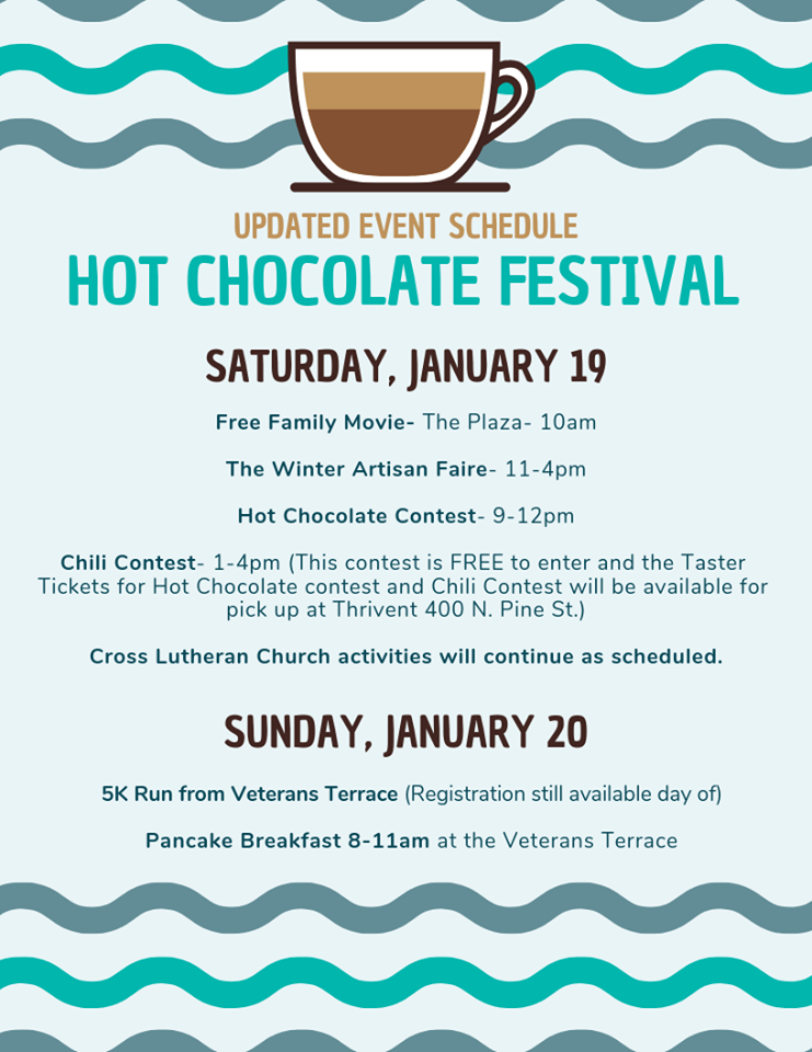 Burlington Hot Chocolate Festival schedule revision, 2019
