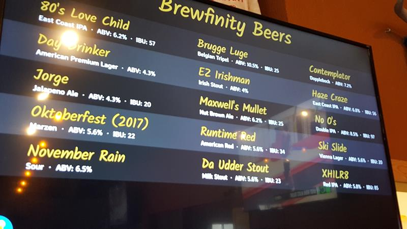 Brewfinity electronic menu