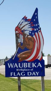 Waubeka Flag Day Welcome Sign