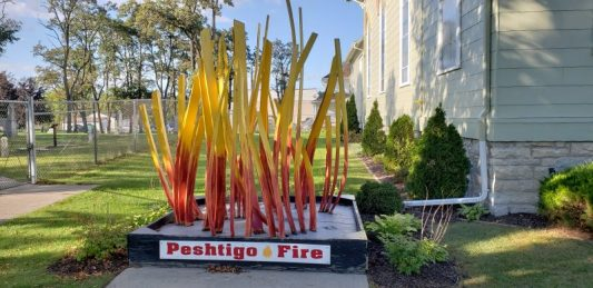 Peshtigo Fire sculpture outside the Museum