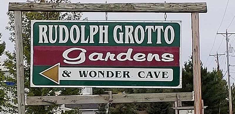 Rudolph Grotto sign along Highways 13/34.