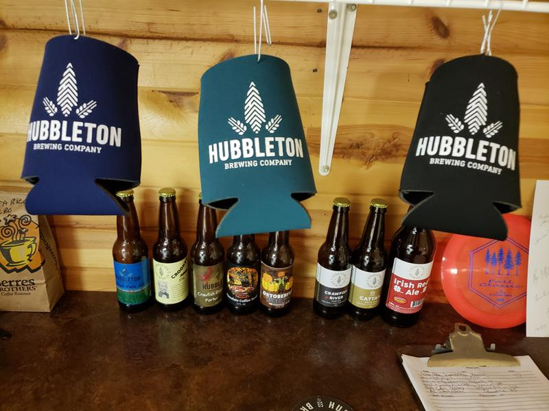 Hubbleton Brewing Company bottles and merch