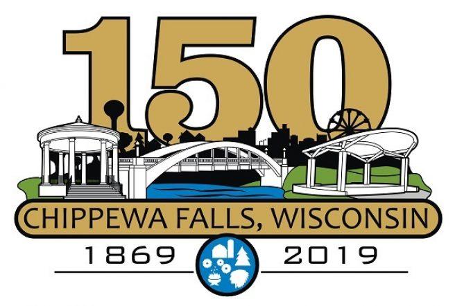 Chippewa Falls Sesquicentennial logo