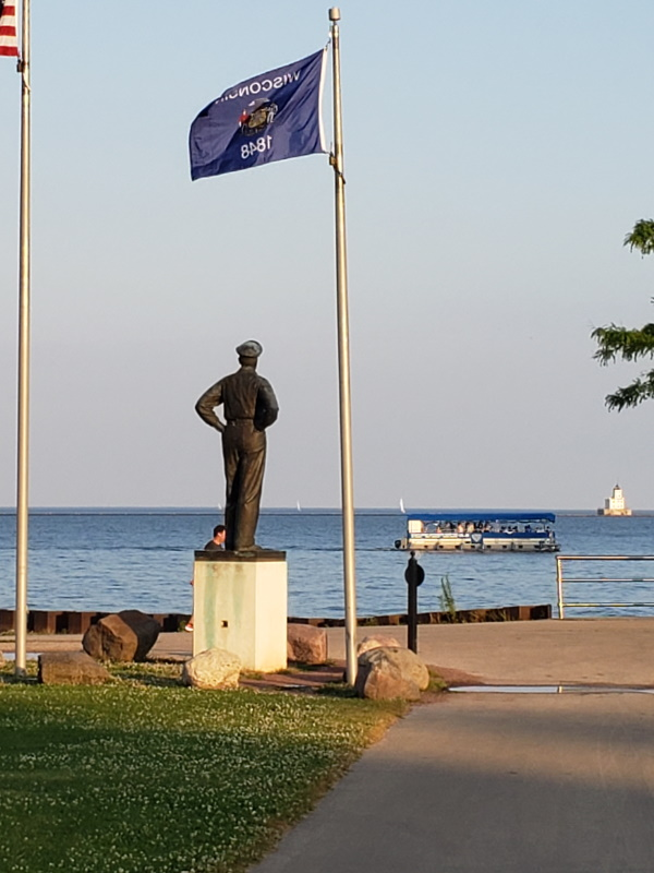 General Douglas MacArthur statue, overlooking Lake Michigan in Milwaukee