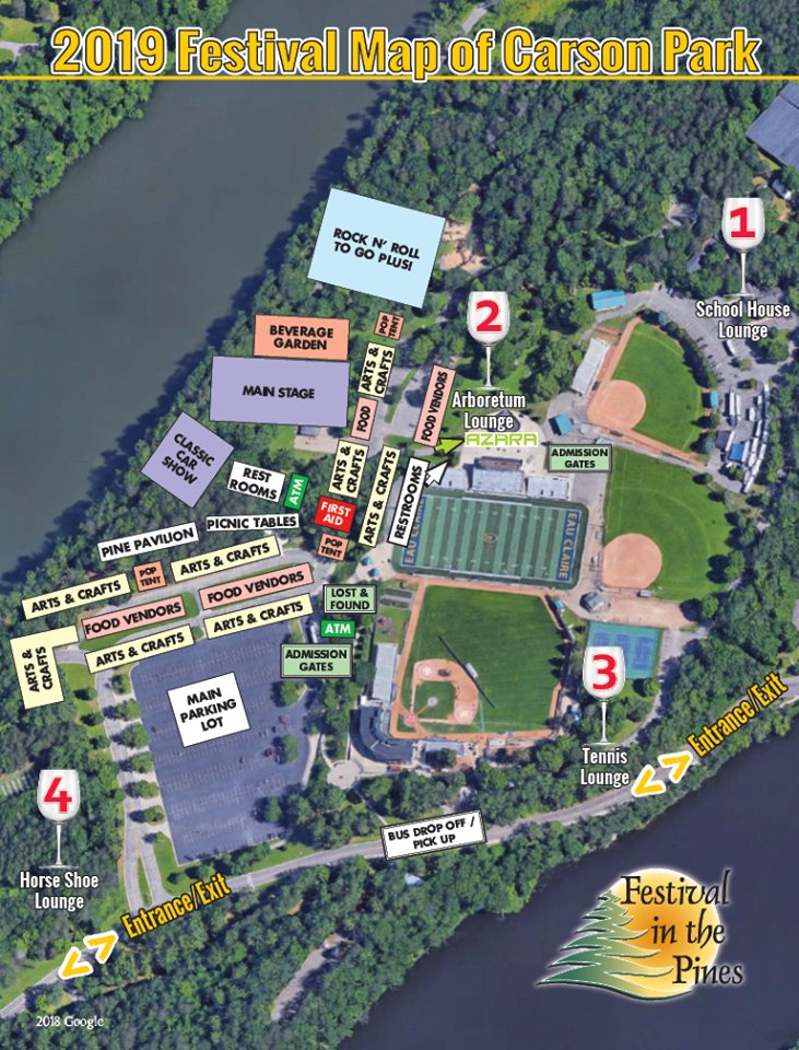 Eau Claire Festival in the Pines park map