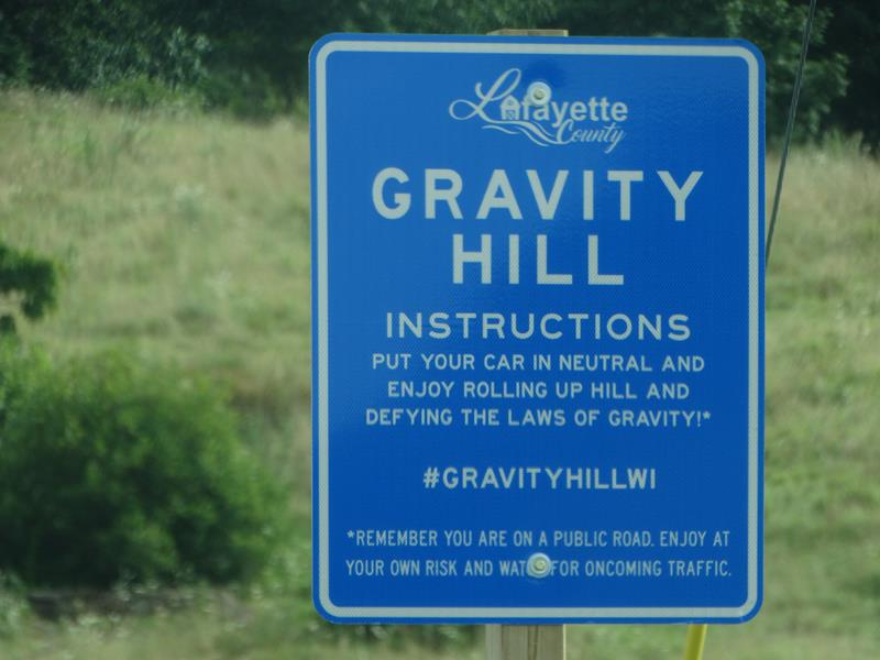 Gravity Hill south of Shullsburg, Wisconsin
