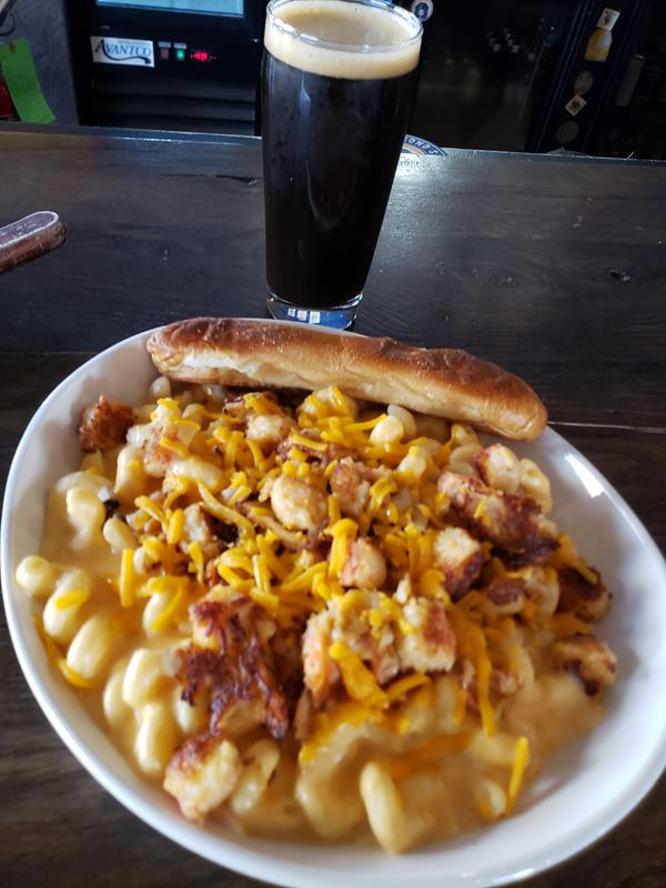Lobster mac and cheese at Second Salem Brewing Company