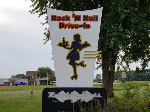 Rumble Seats Rock 'N Roll Drive-In sign, along U.S. 14 & Highway 60 in Spring Green