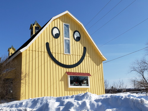 The Smiley Barn is back along I-94 at Highway 83 in Delafield, Wisconsin