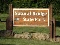 Natural Bridge State Park sign along County C in Sauk County, Wisconsin
