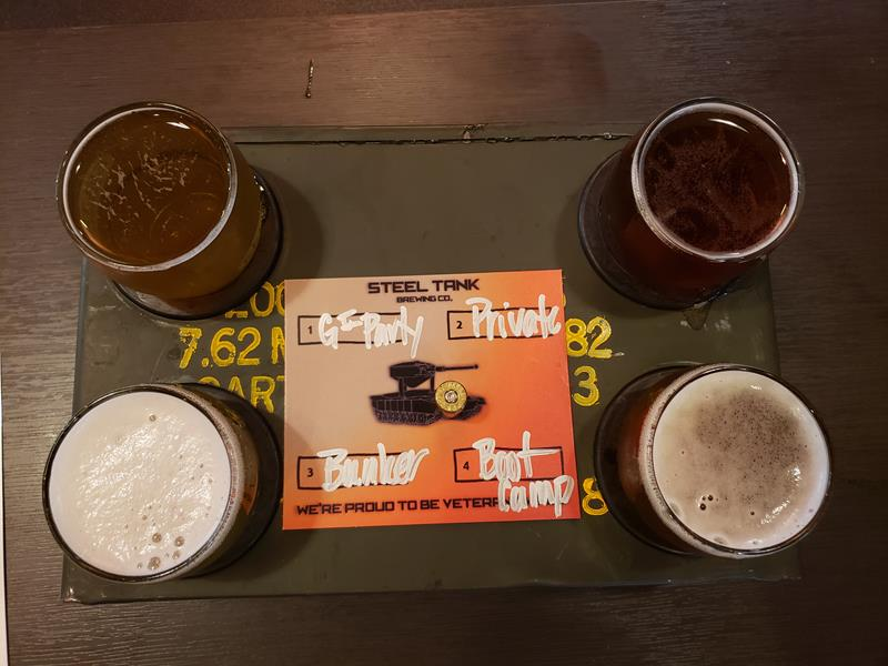Sampler at SteelTank Brewing Company, Oconomowoc