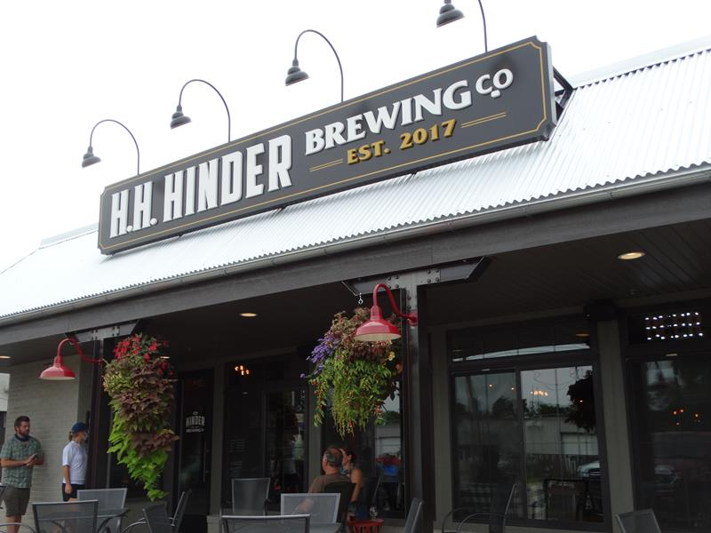 Front of Hinder Brewing Company, Waupaca, Wisconsin