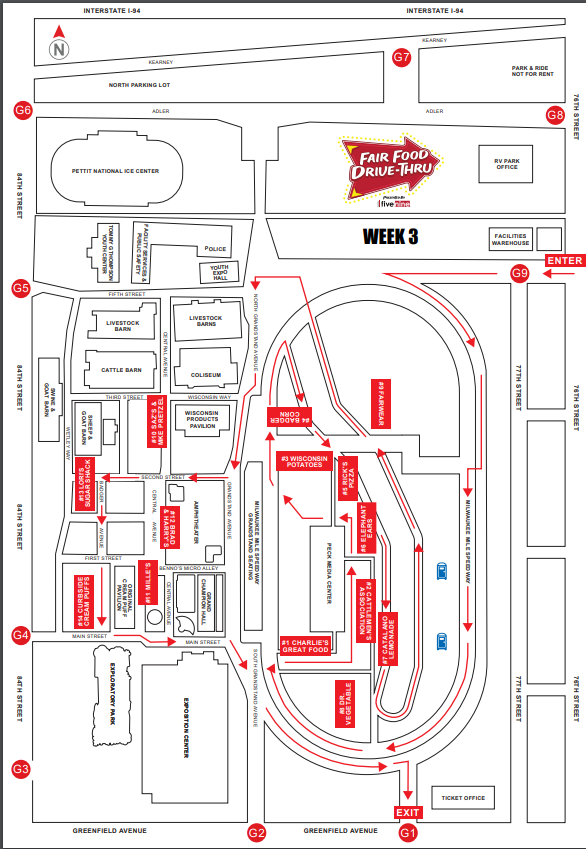 Wisconsin State Fair Food Drive-Thru Map, 2020